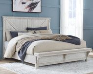 Brashland White Queen Panel Bed with Bench Footboard