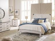 Shawburn White/Dark Charcoal Gray 7 Piece Dresser, Five Drawer Chest, Three Drawer Chest, Full Panel Platform Bed, 2 Nightstands