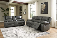 Calderwell Gray 2 Pc. Reclining Sofa, Double Reclining Loveseat with Console