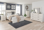 Stelsie White 7 Pc. Dresser, Mirror, Chest, Queen Panel Bed, 2 Nightstands