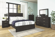 Belachime Black 5 Pc. Dresser, Mirror, Chest, Queen Panel Bed