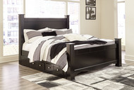 Mirlotown Almost Black King Poster Bed with Side Storage