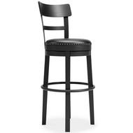 Valebeck Black Tall Upholstered Swivel Barstool(1/CN)