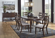 Adinton Reddish Brown 8 Pc. Oval Dining Room Extension Table, 6 Side Chairs, Server