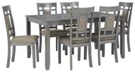 Jayemyer Charcoal Gray Rectangular Table Set (7/CN)