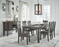 Hallanden Gray 8 Pc. Rectangular Butterfly Extension Table, 6 Side Chairs, Dining Room Server