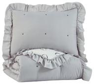 Hartlen Gray/White Twin Comforter Set