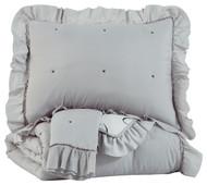 Hartlen Gray/White Full Comforter Set
