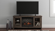 Arlenbry Gray LG TV Stand with Faux Firebrick Fireplace Insert