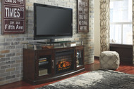 """Chanceen Dark Brown 2 Pc. 60"""" TV Stand with Faux Firebrick Fireplace Insert"""