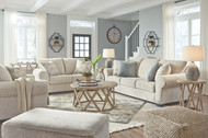 Haisley Ivory 8 Pc. Sofa, Loveseat, Chair and a Half, Ottoman, Glasslore Cocktail Table, 2 End Tables, Sofa Table