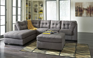 Maier Charcoal 3 Pc. Left Arm Facing Corner Chaise, Right Arm Facing Sofa Sectional, Accent Ottoman