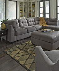 Maier Charcoal 4 Pc. Left Arm Facing Sofa, Right Arm Facing Corner Chaise Sectional, Rocker Recliner, Accent Ottoman