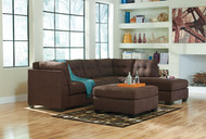 Maier Walnut 3 Pc. Left Arm Facing Sofa, Right Arm Facing Corner Chaise Sectional, Accent Ottoman