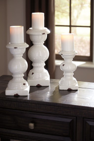 Devorah Antique White Candle Holder Set