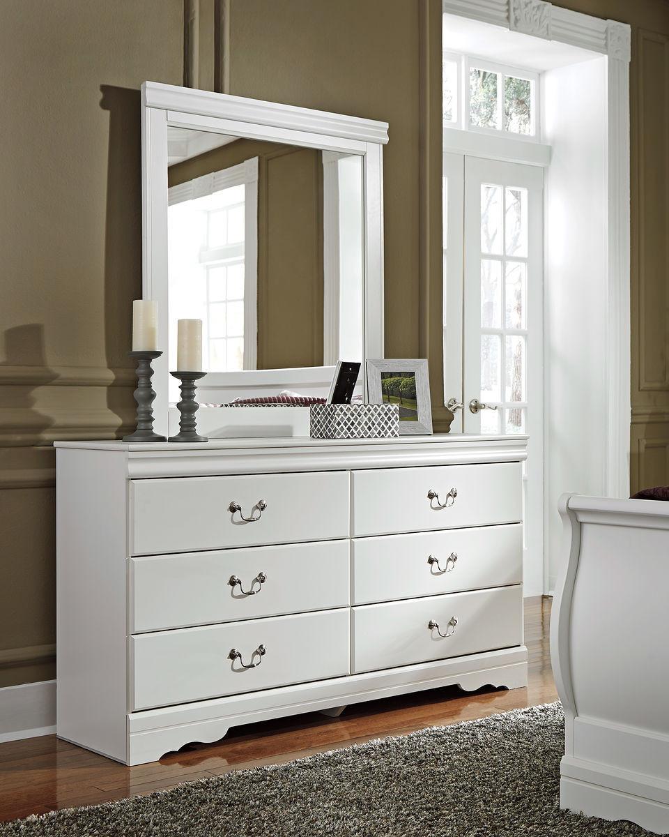 The Anarasia White Dresser & Mirror available at Elegant ...