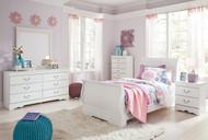 Anarasia White 5 Pc. Dresser, Mirror & Twin Sleigh Bed