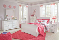Anarasia White 6 Pc. Dresser, Mirror, Full Sleigh Bed & Nightstand
