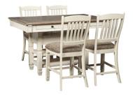Bolanburg Antique White 5 Pc. Rectangular Dining Room Counter Table & 4 Upholstered Barstools