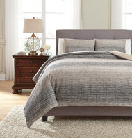 Arturo Natural/Charcoal Queen Duvet Cover Set