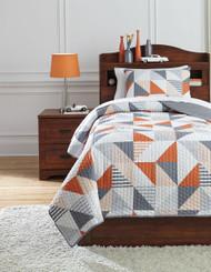 Layne Gray/Orange Twin Coverlet Set