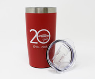 Red 20 oz. Tumbler with Lid 20 Year Anniversary Logo