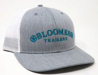 Heather Gray with white mesh.  Logo in turquoise.