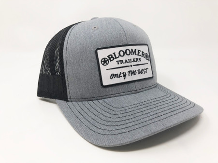 Heather gray cap with black mesh back.  Bloomer patch in white with black letters.