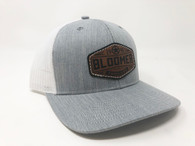 Heather gray cap with white mesh, leather patch.