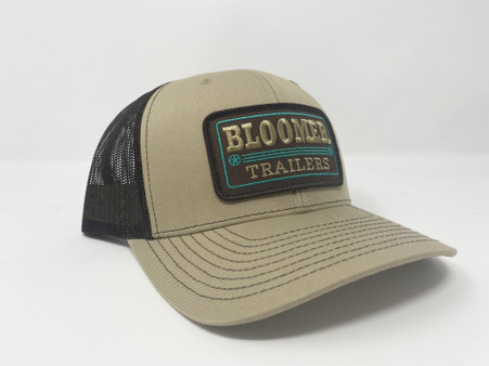Khaki front, black mesh back with brown patch.  Stitching is khaki and emerald green.  Richardson 112 cap.