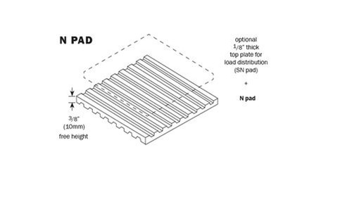 Vibro Acoustics N 912-65, N Vibration Isolation Pads, 9720 lbs rated load