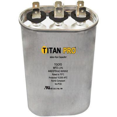 Titan Pro TOCFD2510, Motor Run Capacitor 25+10 MFD 370V OVAL