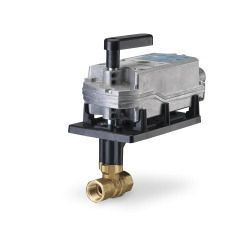 Siemens 171E-10322, 2-way 1-1/2 inch, 25 CV ball valve assembly with chrome-plated brass ball and brass stem, 2-position, NO, fail safe actuator, 200 psi close-off, NPT