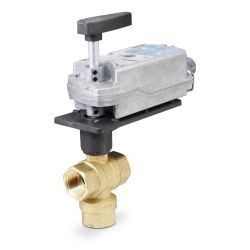 """Siemens 171F-10366S, 599 Series 3-way, 1-1/4"""", 40 CV Stainless Steel Ball Valve Coupled with 3-Position Floating, Spring Return Actuator"""