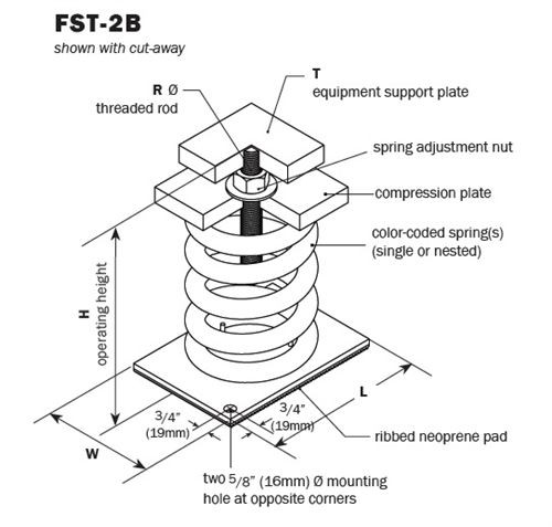 Vibro Acoustics FST-2B-3000, 2 (50mm) Deflection FST Free Spring Floor Mounted Isolators with Top, 3000 lbs rated load