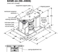 Vibro Acoustics SCSR-1A-1300, 1 (25 mm) Deflection SCSR Seismic Restrained Spring Isolators (for Concrete), 1300 lbs rated load