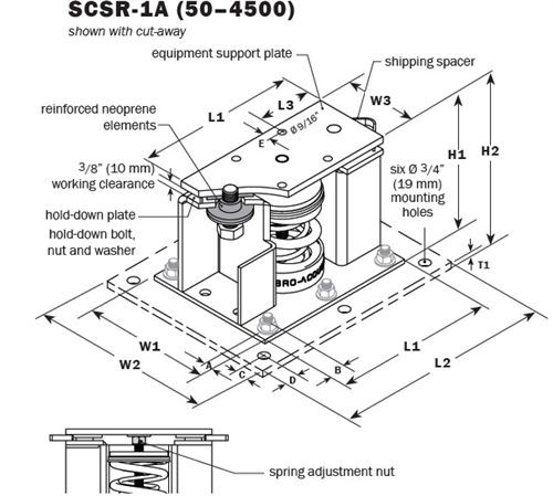 Vibro Acoustics SCSR-1A-500, 1 (25 mm) Deflection SCSR Seismic Restrained Spring Isolators (for Concrete), 500 lbs rated load