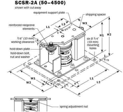 Vibro Acoustics SCSR-2A-1100, 2 (50 mm) Deflection SCSR Seismic Restrained Spring Isolators (for Concrete), 1100 lbs rated load