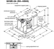 Vibro Acoustics SCSR-2A-800, 2 (50 mm) Deflection SCSR Seismic Restrained Spring Isolators (for Concrete), 800 lbs rated load