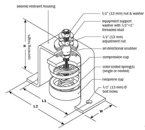 Vibro Acoustics SFS-SA-30, 1 (25 mm) Deflection SFS Seismic Floor Mounted Isolator, 30 lbs rated load