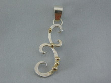 Tendril Pendant, Silver & 14K Gold