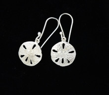 Sand Dollar Earrings, Silver - French Wire
