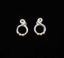 Hurricane Omar Earrings, Silver & 14K Balls, 14K Gold Posts