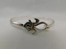 Silver & 14K Wrap 5mm Fleur de Lis Bracelet