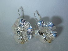 Hibiscus Earrings, Silver & 14K Gold Balls - French Wire