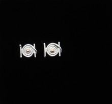 Hurricane Hugo Earrings, Silver & 14K Gold, 14K Posts