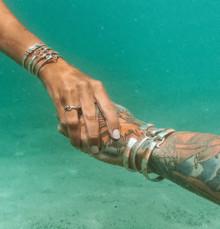 Shackle Bracelet, Silver & 14K