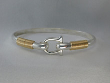 Silver & 14K Gold 4mm Shackle Bracelet