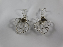 Octopus Earrings, Silver & 14K Gold Eyes  - French Wire