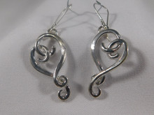 Twisted Heart Earrings, Silver  - French Wire
